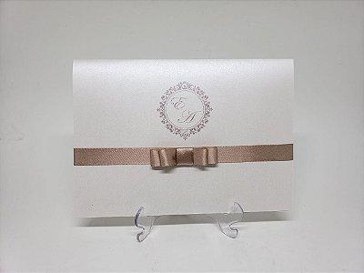Convite casamento simples aspen Rosê