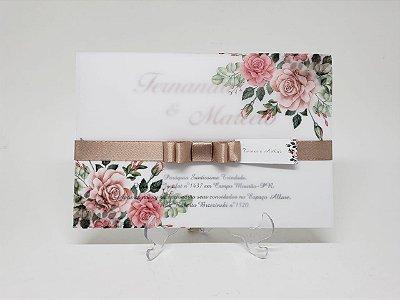 Convite casamento flores rose e nude