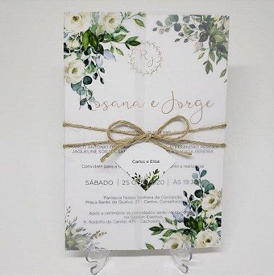 Convite casamento flores brancas e folhas vegetal