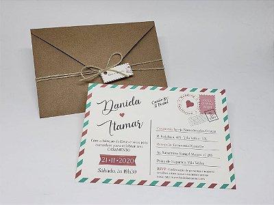 Convite casamento postal viagem