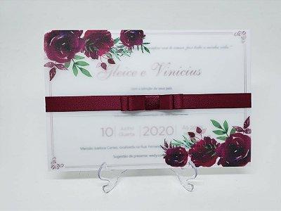 Convite casamento marsala floral em vegetal
