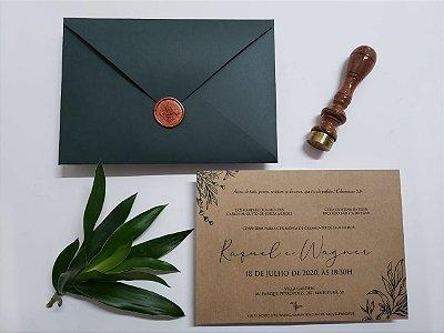 Convite casamento verde musgo com lacre bronze