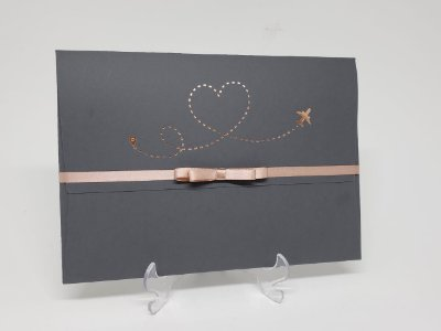 Convite casamento passaporte cinza e rosê gold