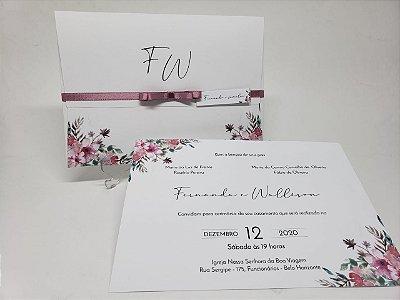 Convite casamento rosa e branco com envelope