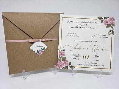 Convite de casamento rosa e dourado rustico