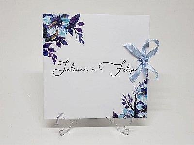 Convite casamento roxo e azul floral