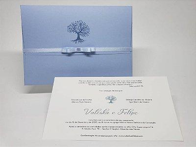 Convite casamento árvore azul serenity