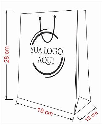 Sacola personalizada papel tamanho M2 - Kit com 100