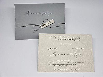 Convite casamento cinza clássico