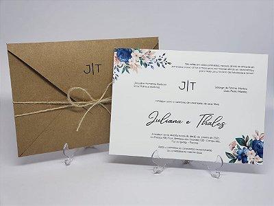 Convite casamento rustico azul e rosê