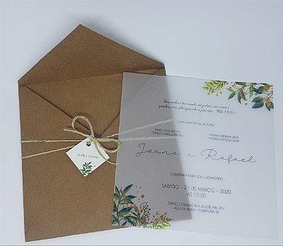 Convite de casamento rustico com papel vegetal