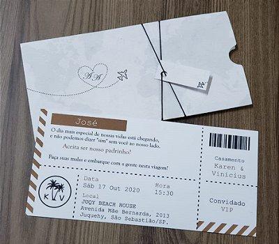 Convite casamento passaporte viagem