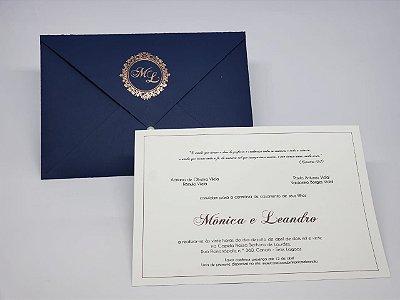 Convite de casamento azul brasao hotstamping