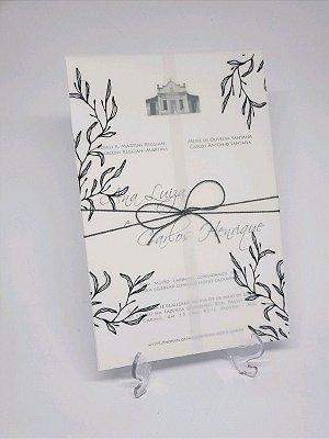 Convite casamento vegetal preto e branco