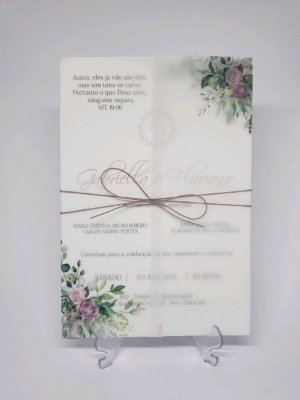 Convite casamento vegetal Rose e folhagens
