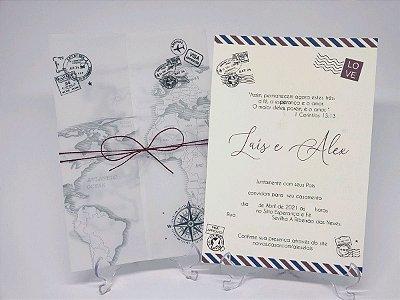 Convite casamento vegetal Mapa Viagens passaporte