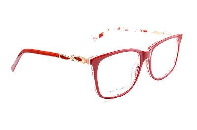 Armação para óculos de grau feminino vermelho de acetato - JC857 - Semi oval