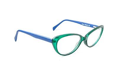 Armação para óculos de grau feminino - modelo gatinho - verde com azul - óculos diferente acetato