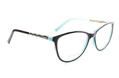 Armação para óculos de grau feminino - Marron bem escuro quase preto com azul - óculos diferente acetato