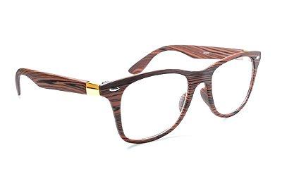 Armação para óculos de grau feminino - modelo nerd geek - Imita madeira