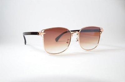 Óculos de Sol feminino quadrado dourado lente degradê - Oculos Barato