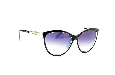 Óculos de Sol feminino gatinho preto com azul tiffany