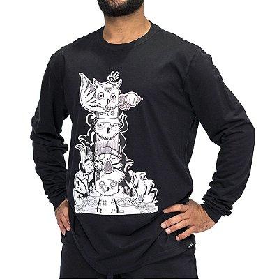 Camiseta M. Longa Preto - Totem