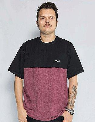 Camiseta Bordado Dublê - Preto e Bordô