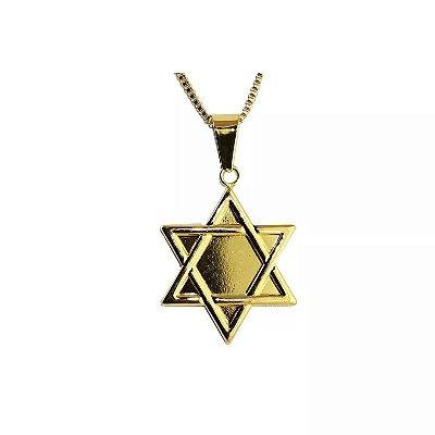 Colar Estrela de Davi em Aço com Ouro - 03176