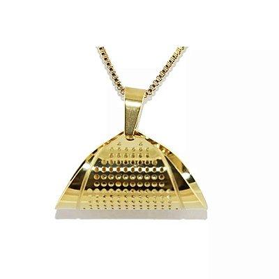 Colar  Jenny em Aço com Ouro - 03294