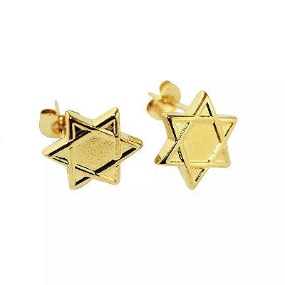Brinco Estrela de Davi em Aço com Ouro - 03205