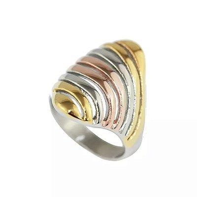 Anel Design de Aço com Ouro - 03788