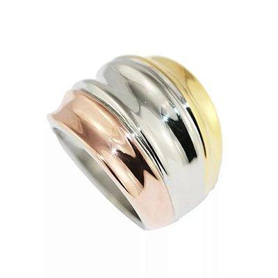 Anel de Aço com Ouro Marilyn - 04060