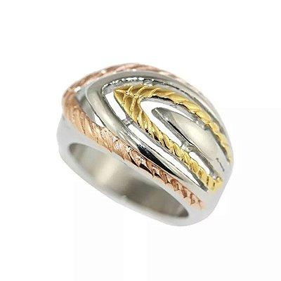 Anel de Aço com Ouro Jennifer Lopez - 04065