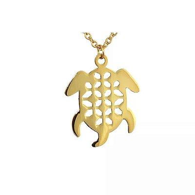 Colar de Aço com Ouro Tartaruga - 04782