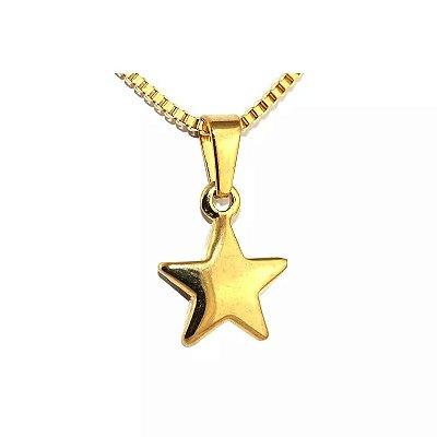 Colar de Aço com Ouro Estrela - 04817