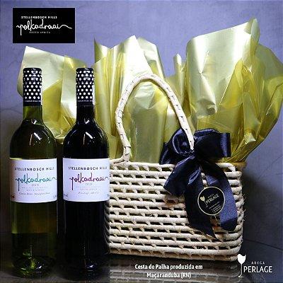 Cesta Polka com dois vinhos 750mL - Africa do Sul