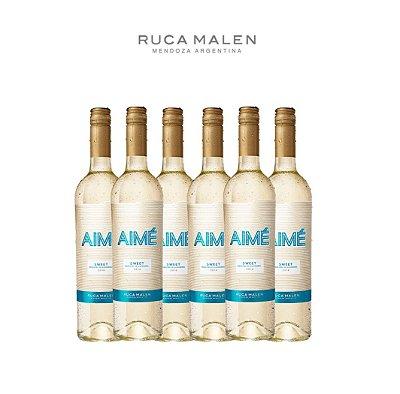Kit Vinho Branco Moscatel Aimé Sweet Ruca Malen 2017 750mL 6 garrafas