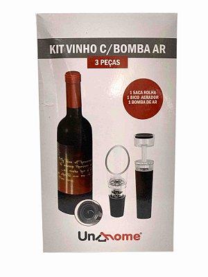Kit Abridor de Vinho c/ Bomba Ar e Aerador - 3 Peças