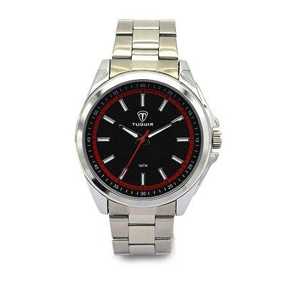 Relógio Masculino Tuguir Analógico 5044 Prata e Vermelho
