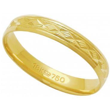 Aliança Ouro 18 K Trabalhada T60R