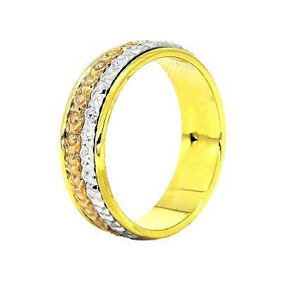 Aliança Ouro 18 K c/Relevo de ouro Branco e Ouro VERMELHO C224