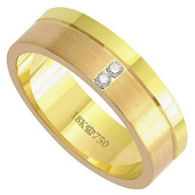 Aliança Ouro 18k Com 2 Pedras de Brilhante C709