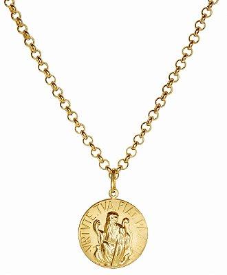 Gargantilha em Ouro 18k com medalha São Bento