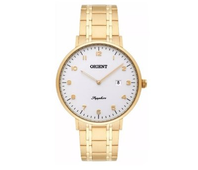 Relógio Orient Masculino Slim Mgsss003 S2kx Safira Dourado