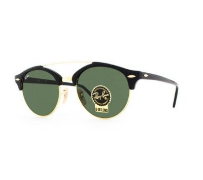 Óculos De Sol Ray Ban Clubround Double Bridge Rb4346 901 51 Preto 51