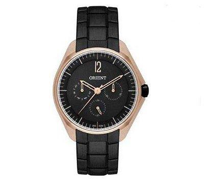 Relógio Orient Feminino Ftssm038 P2px Rose Preto Multifunção