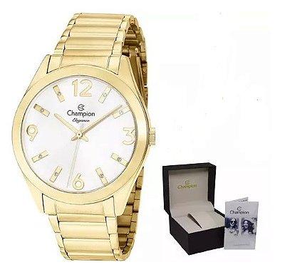 kit Relógio Champion Elegance Cn25396w  C/ Colar Brinco
