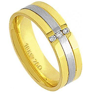 Aliança Ouro 18K Com Detalhe em Ouro Branco e 3 Pedras de Brilhante C586R