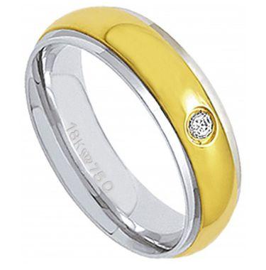 Aliança Ouro 18K Com Relevo em Ouro Amarelo e 1 Pedra de Brilhante C718R